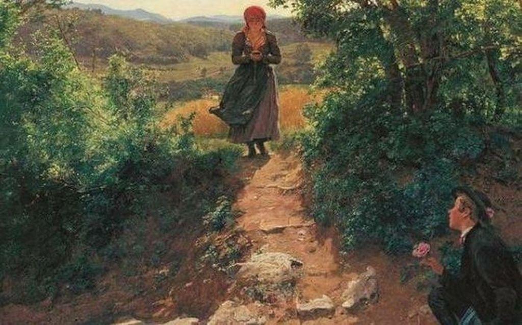 Sebuah lukisan yang berasal dari tahun 1850 menjadi viral. Pasalnya, lukisan tersebut menggambarkan seorang wanita sedang tertunduk asyik menggenggam benda mirip ponsel, sementara di sisi lain ada seorang laki-laki yang menunggunya lewat untuk memberinya bunga. Tentu jadi hal aneh, mengingat di tahun tersebut belum ada smartphone. Foto: Internet