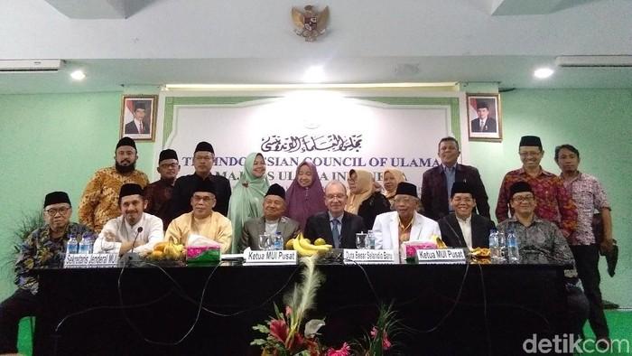Foto: Duta Besar Selandia Baru untuk Indonesia Roy Ferguson jumpa pers di MUI (Lisye-detikcom)