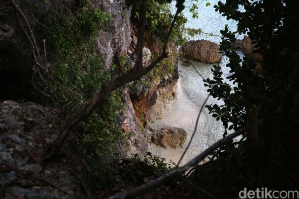 Pantai ini ini benar-benar tersembunyi karena letaknya cukup sulit diakses. (Danu Damarjati/detikcom)
