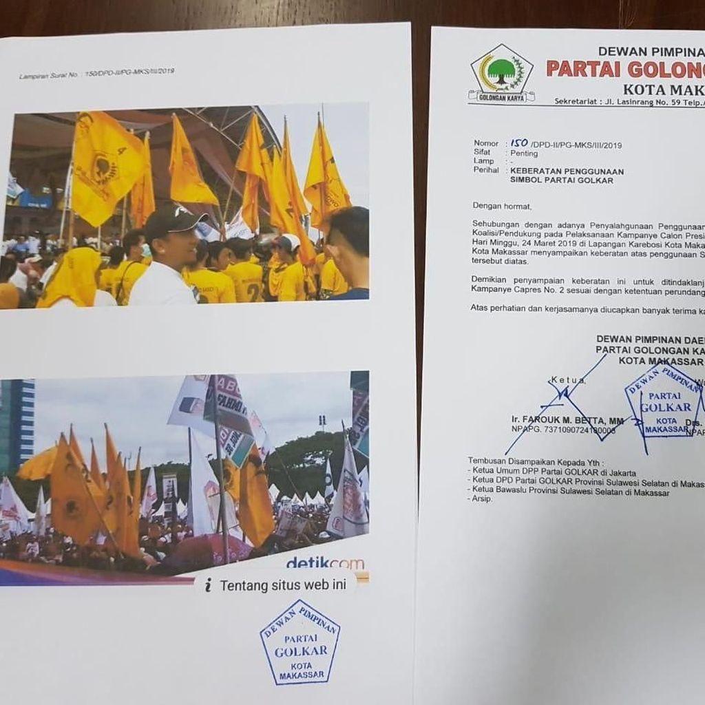 Benderanya Dipakai di Kampanye Prabowo-Sandi, Golkar Lapor Bawaslu