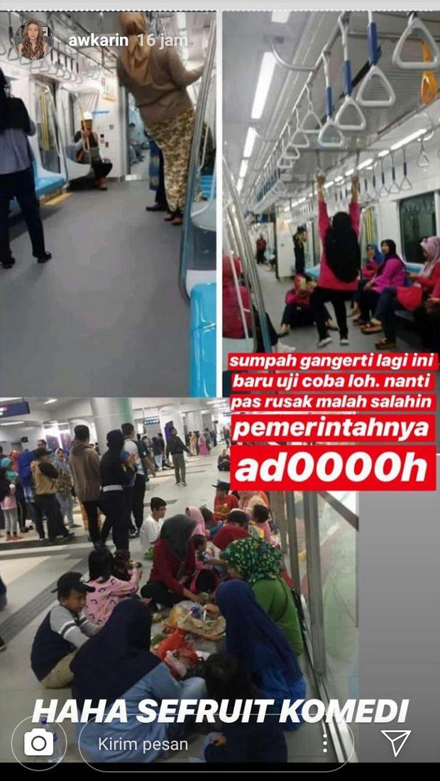 Awkarin Miris Lihat Tingkah Penumpang saat Coba MRT