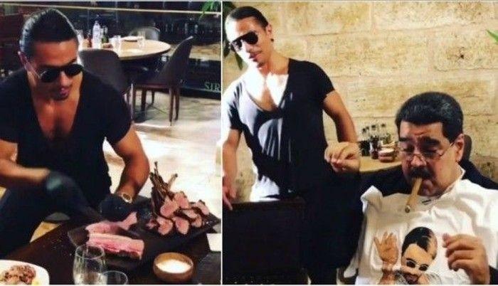Kepopuperan Salt Bae berawal dari gayanya menabur garam yang jadi viral tahun 2017. Banyak tokoh ternama lantas menyambangi restonya seperti Presiden Venezuela, Nicolás Maduro. Foto: Istimewa
