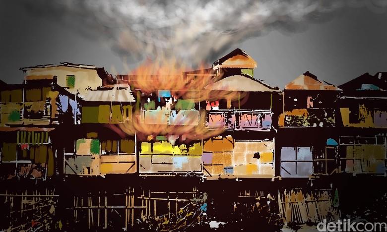 Kebakaran Bedeng Proyek di Kemayoran Jakpus, 9 Mobil Damkar Dikerahkan