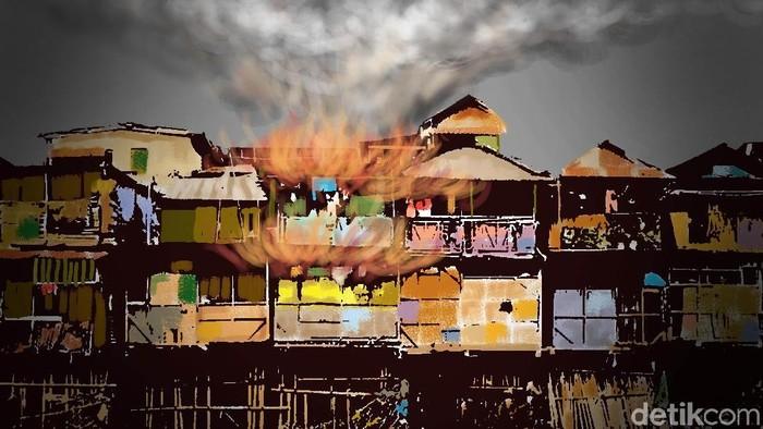 suasana kebakaran kampung