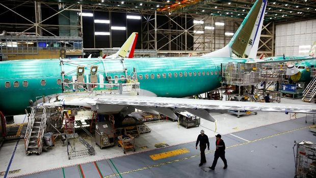 A 737 Max aircraft is pictured at the Boeing factory in Renton, Washington, U.S., March 27, 2019.  REUTERS/Lindsey Wasson