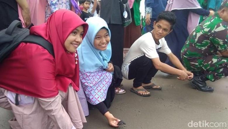 Mahasiswa Aceh melepas Penyu ke Laut (Datok/detikcom)
