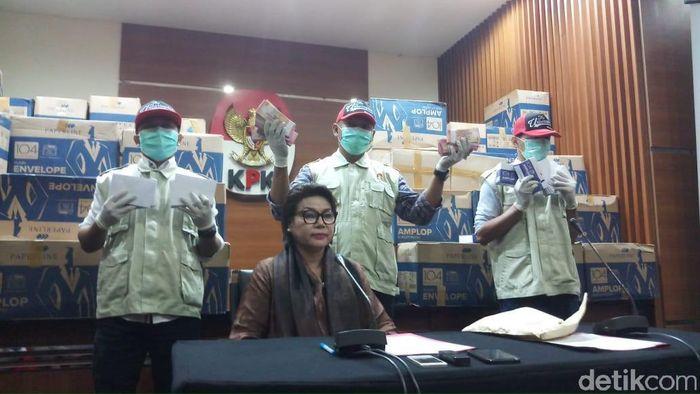 Foto: Jumpa pers KPK soal OTT politikus Golkar Bowo Sidik Pangarso (Farih/detikcom)