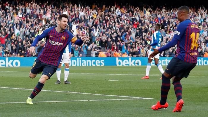 Lionel Messi, bintang Barcelona yang bersinar. Foto: Albert Gea/Reuters