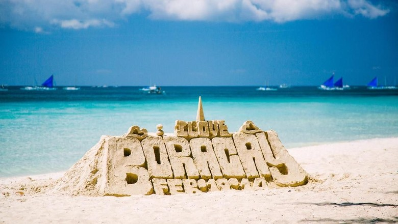 Castle made of sand. Image taken on the Boracay island - white beach. Philippines