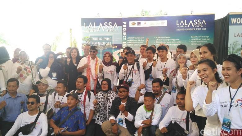 Suasana Konferensi Pers di Tanjung Lesung Resort (Wahyu/detikcom)