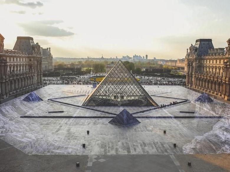 Keren Banget! Trik Ilusi Seniman JR Pukau Jutaan Pengunjung Museum Louvre Foto: Istimewa/ JR