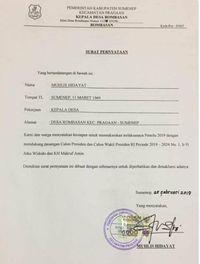 Surat viral Kepala Desa Dukung Jokowi yang sedang diinvestigasi Bawaslu Sumenep