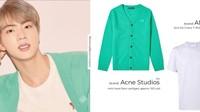 Jin memadukan cardigan hijau dengan kaos putih seharga Rp 4 juta.Dok. Twitter/getonswag