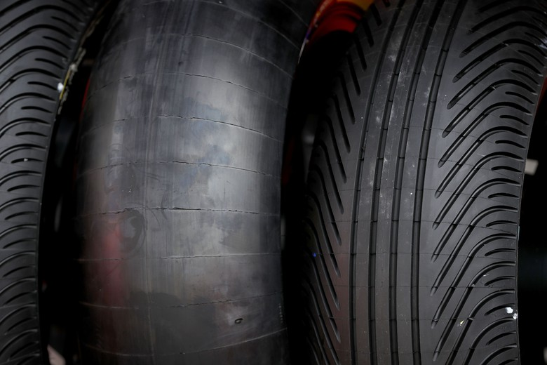 PHILLIP ISLAND, AUSTRALIA - OCTOBER 19: A slick tyre and a wet weather tyre are seen during previews ahead of the 2017 MotoGP of Australia at Phillip Island Grand Prix Circuit on October 19, 2017 in Phillip Island, Australia.  (Photo by Robert Cianflone/Getty Images)