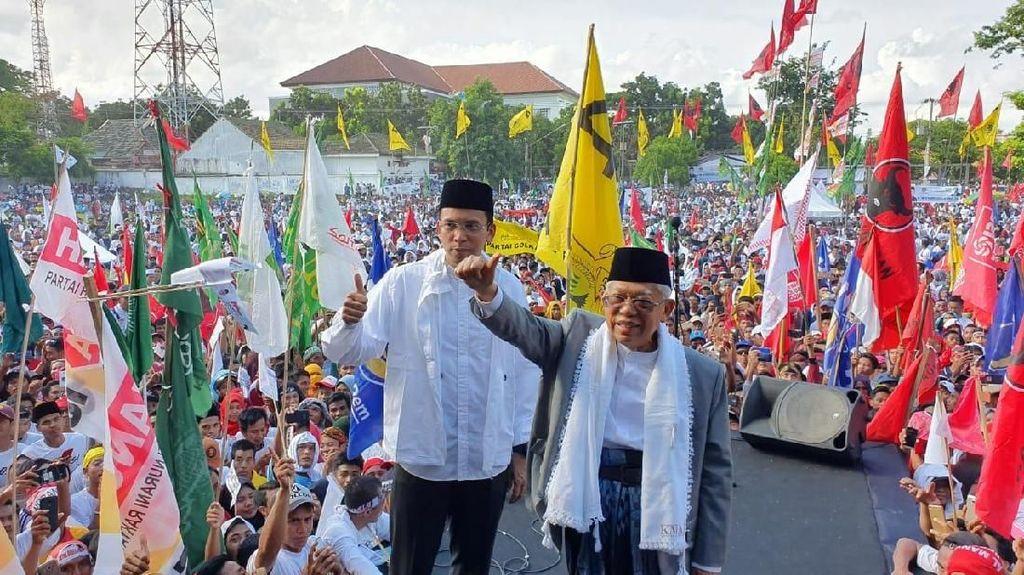 Didampingi TGB, Maruf Amin Salam Jempol Sapa Pendukung di Lombok NTB