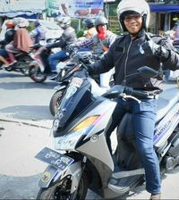 Susanto, bikers asal Bandung dengan skutik Yamaha Lexi