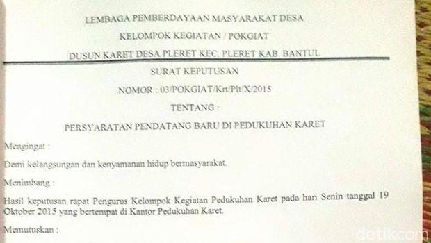 Surat aturan di Dusun Karet, Kecamatan Pleret, Bantul.