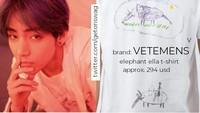 V tampil kece sebuah kaos putih seharga Rp 4 juta. Dok. Twitter/getonswag