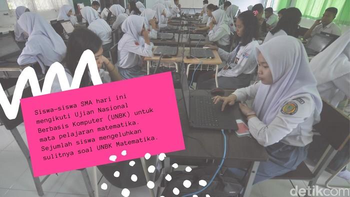 Sejumlah 40 nomor soal UNBK Matematika 2019 ini dianggap lebih menguras pikiran dibanding mata pelajaran bahasa Indonesia yang diujikan pada hari pertama. Bagaimana kalau kita coba soal matematika satu ini? Foto: detikHealth