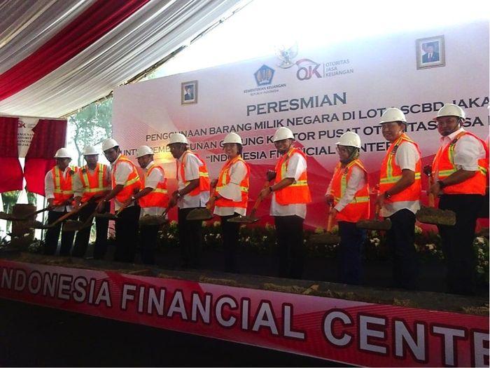 Simbolis dimulainya pembangunan gedung Indonesia Financial Center (Foto: Tia Reisha/detikcom)