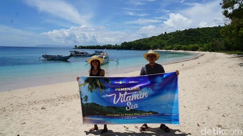 Pemenang VitaminSea di Pantai Pink (Syanti/detikTravel)