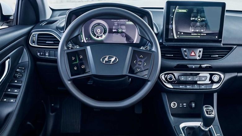 Setir mobil Hyundai di masa depan dengan layar sentuh. Foto: Hyundai