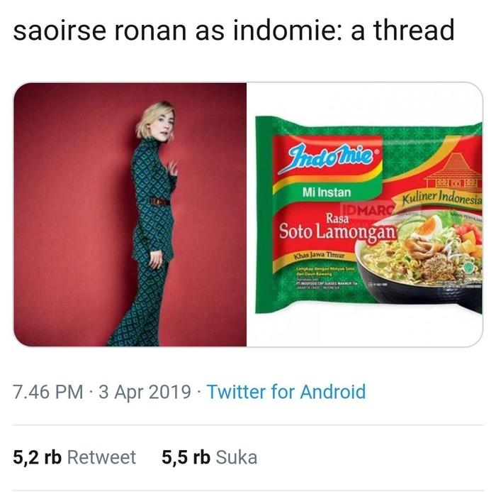 Lewat akun Twitter pribadinya, wanita bernama Ayu Ftria Hardayanti ini mengunggah sebuah thread berjudul Saorse Ronan as Indomie. Thread itu memuat foto Saoirse Ronan yang disejajarkan dengan berbagai varian Indomie. Foto: Twitter @frencesha