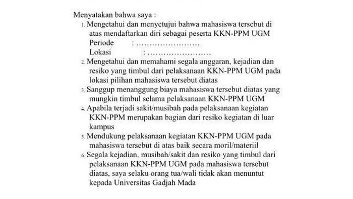 Surat persetujuan bagi ortu dan wali mahasiswa calon peserta KKN UGM. Foto: Usman Hadi/detikcom