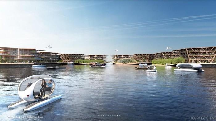 Gagasan kota terapung yang gambarannya mirip ilustrasi kota hilang Atlantis. (Foto: Dok. Oceanix)
