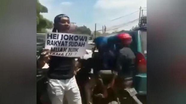 Begini Aksi Pria Penuh Akik di Bogor yang Hina Jokowi Sebelum Diciduk