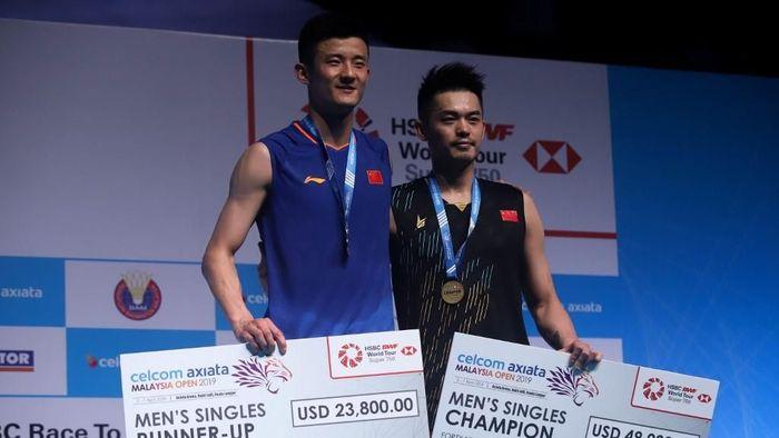 Lin Dan juara turnamen bulutangkis Malaysia Terbuka 2019. (Sadiq Asyraf/AFP)