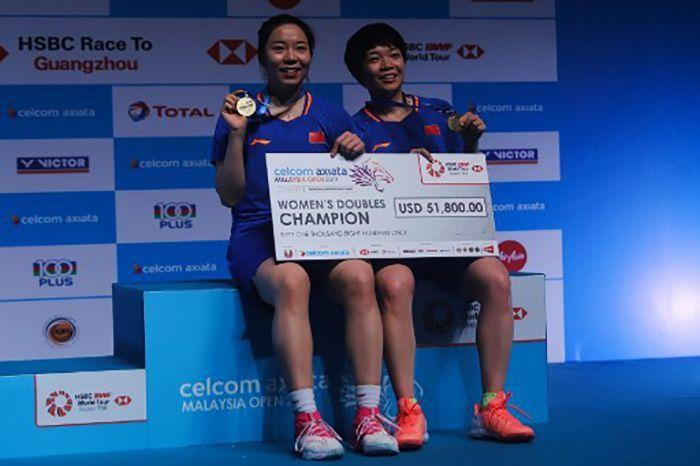 Chen Qingchen/Jia Yifan juara ganda putri Malaysia Terbuka 2019. Sadiq Asyraf/AFP.