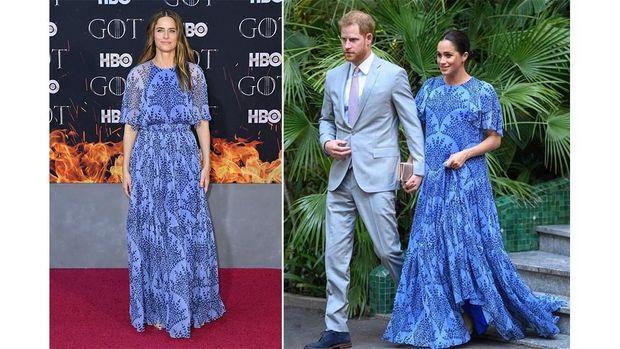 Gaun biru Meghan Markle dan Amanda Peet