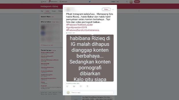 Kata Instagram soal Postingan Habib Rizieq yang Hilang