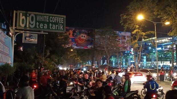 Lokasi bangunan kafe yang roboh di Ring Road Medan