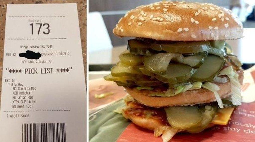 Awalnya Cuma Prank, Burger Isi Acar Ternyata Ada yang Pesan