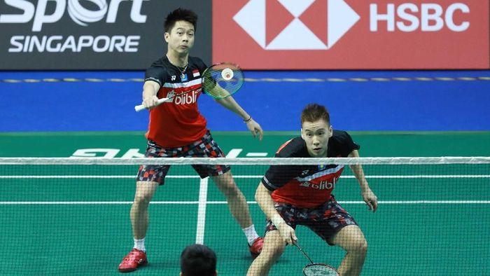 Kevin Sanjaya Sukamuljo/Marcus Fernaldi Gideon kalah, Indonesia tanpa gelar di Kejuaraan Bulutangkis Asia 2019. (dok. Humas PBSI)