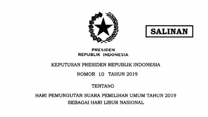 Keppres Libur Nasional 17 April 2019 (Foto: dok. istimewa)