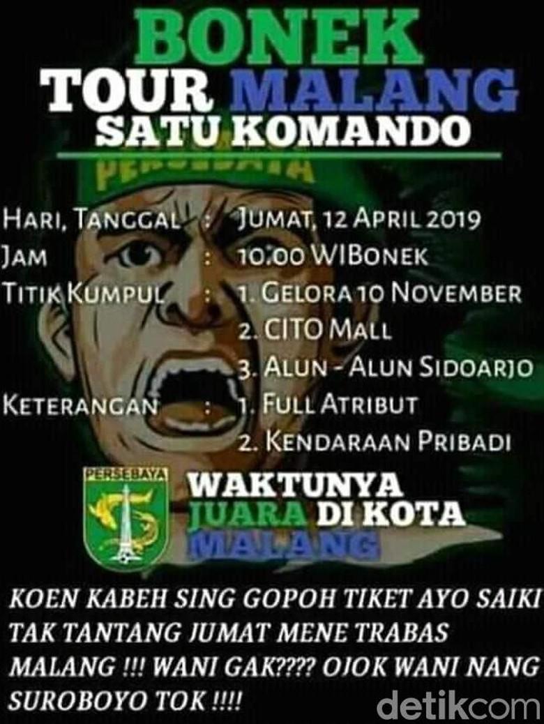 Viral Poster Ajakan Nonton ke Malang, Bonek Diimbau Tak Terprovokasi