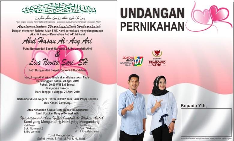 Pendukung Jokowi dan Prabowo Nikah, Undangannya Pose 01-02