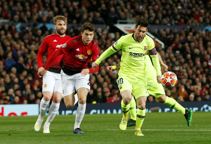 Pada laga leg pertama perempatfinal Liga Champions di Old Trafford, Kamis (11/4/2019) dinihari, MU kalah 0-1 dari Barcelona. Setan Merah harus membenahi diri untuk leg kedua selanjutnya (Reuters)