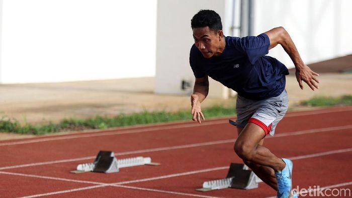 Lalu Muhammad Zohri juga lolos Kejuaraan Dunia Atletik 2019. (Agung Pambudhy/detikSport)