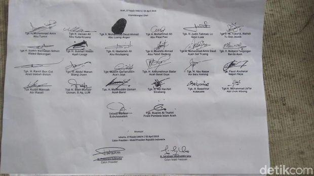 26 Ulama Aceh Teken Nota Kesepahaman dengan Prabowo-Sandi