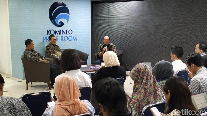 Acara peluncuran Chatbot Anti Hoaks di Kementerian Kominfo. (Foto: Agus Tri Haryanto/detikINET)