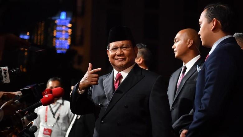 Prabowo tiba di tempat debat kelima Foto: Antara Foto/Rivan Awal Lingga