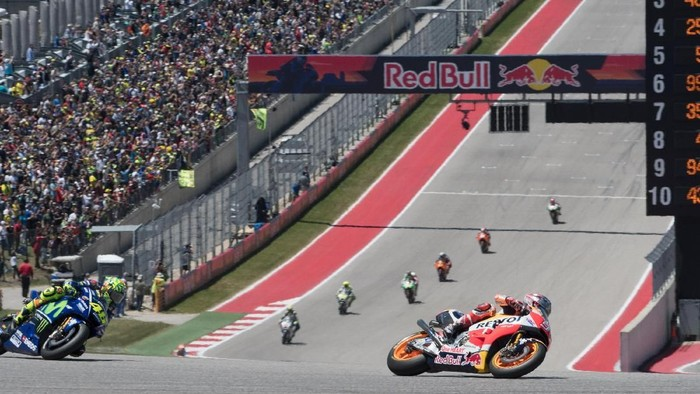 AUSTIN, TX - APRIL 23:  Marc Marquez of Spain and Repsol Honda Team heads leads the field during the MotoGP race during the MotoGp Red Bull U.S. Grand Prix of The Americas - Race at Circuit of The Americas on April 23, 2017 in Austin, Texas.  (Photo by Getty Images/Getty Images)