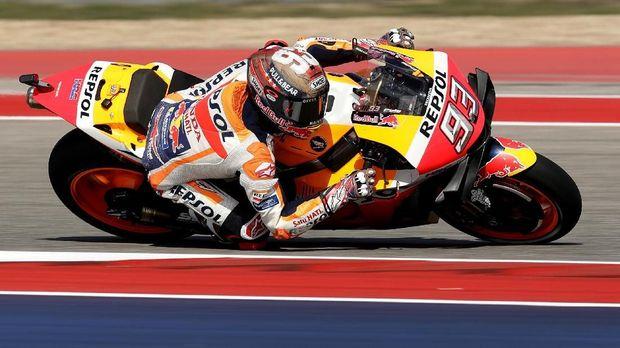 Marc Marquez mengalami kecelakaan saat memimpin balapan MotoGP Amerika Serikat.