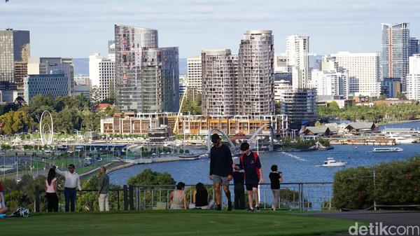 Terlihat orang-orang beraktivitas di Kings Park & Botanical Garden Perth, ada yang olahraga, berjemur, bersantai bersama keluarga atau jalan-jalan bersama anjingnya (Ahmad Masaul Khoiri/detikcom)