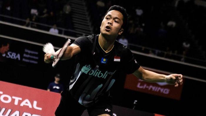 Anthony Ginting gagal juara di Singapura Terbuka 2019. (Foto: Theodore Lim / AFP)