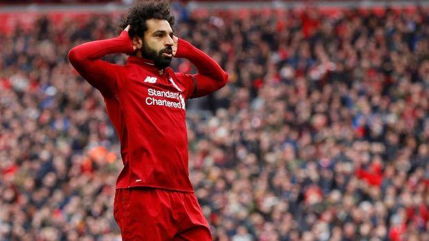 Mohamed Salah mencetak gol kedua Liverpool. (